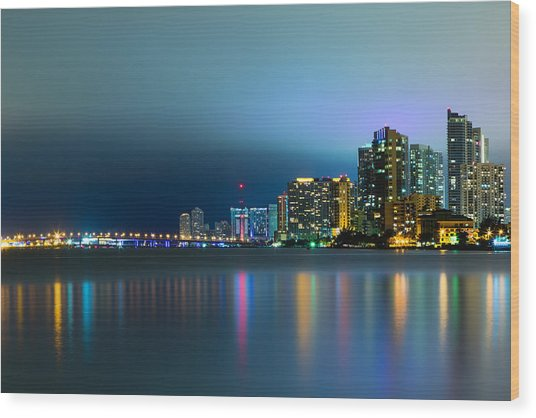 Overcast Miami Night Skyline Wood Print