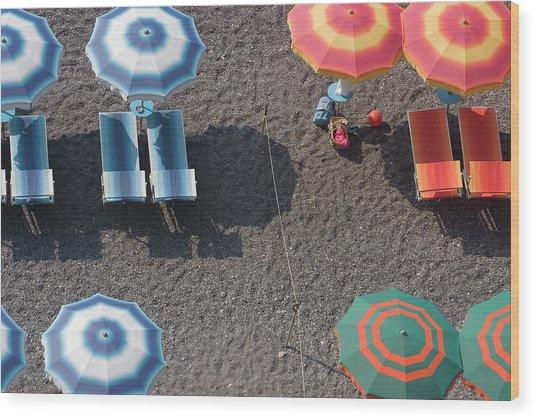 Overhead Of Beach Umbrellas And Wood Print