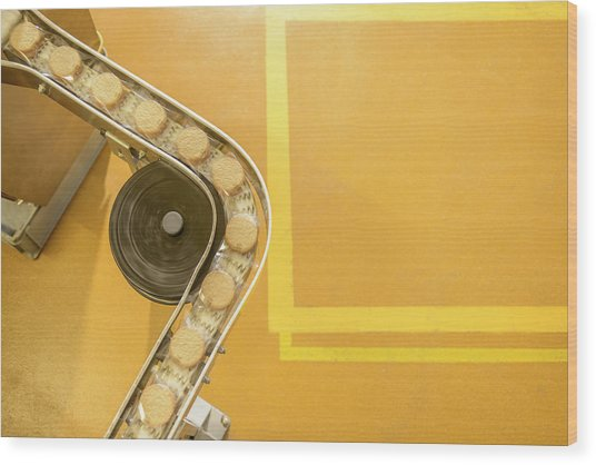 Overhead View Of Freshly Made Biscuits Wood Print by Monty Rakusen