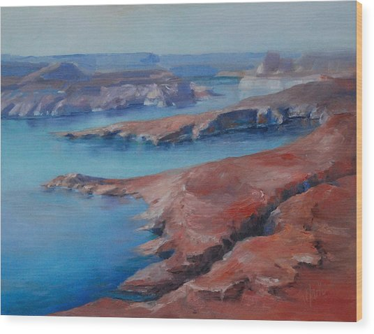 Overlooking Lake Powell Wood Print by Donna Pierce-Clark