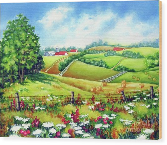 Overlooking The Meadow Wood Print