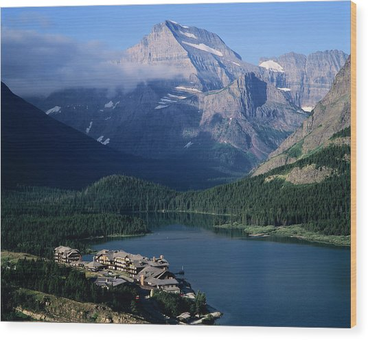 Overview Of A Hotel, Glacier National Wood Print