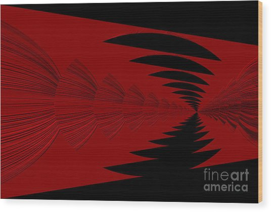 Red And Black Design Wood Print