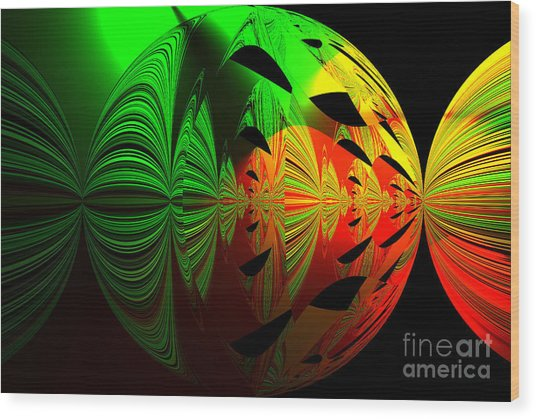 Art. Unigue Design.  Abstract Green Red And Black Wood Print