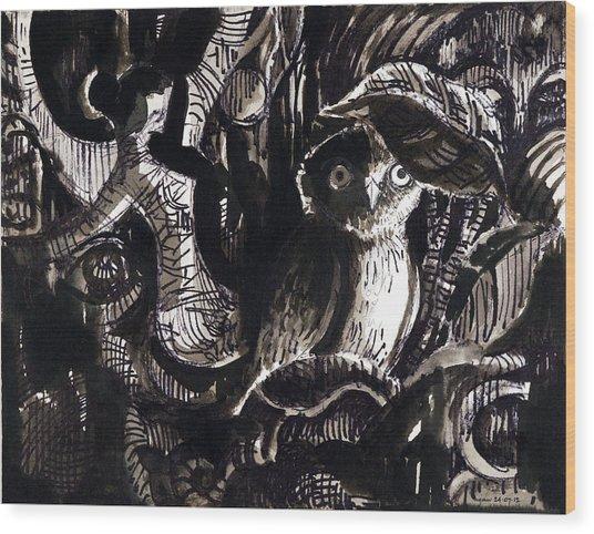 Owl 1 Wood Print by Ayan  Ghoshal