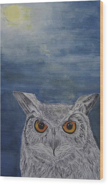 Owl By Moonlight Wood Print