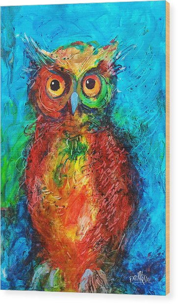 Owl In The Night Wood Print