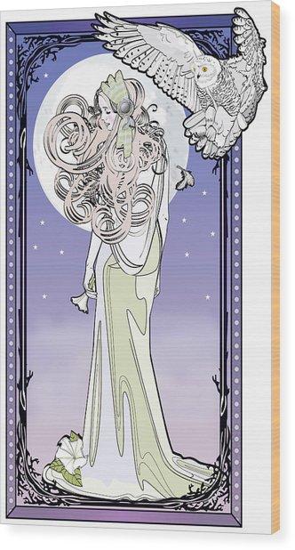 Owl Maiden Wood Print
