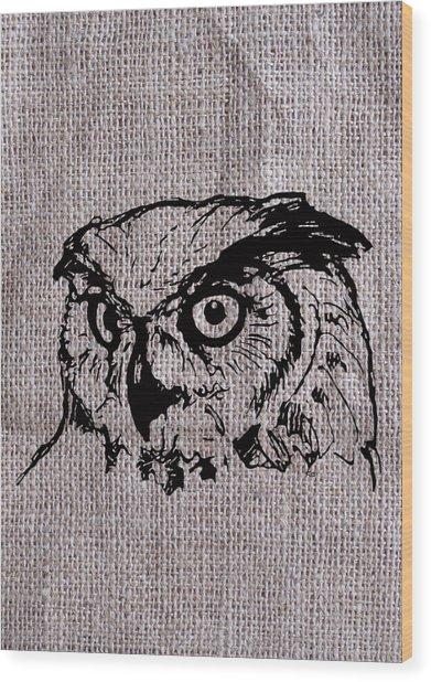 Owl On Burlap Wood Print