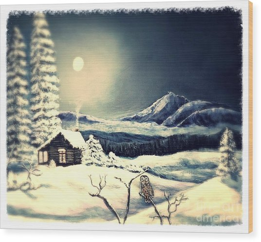 Owl Watch On A Cold Winter's Night Wood Print