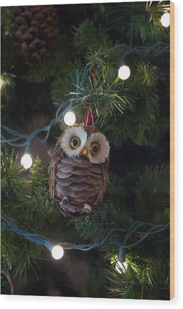 Owly Christmas Wood Print