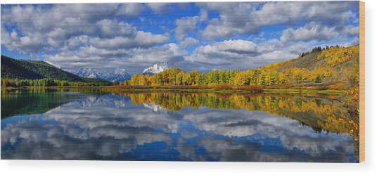 Oxbow Bend Peak Autumn Panorama Wood Print