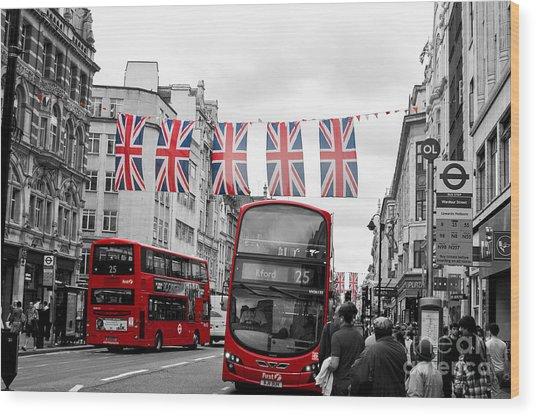 Oxford Street Flags Wood Print
