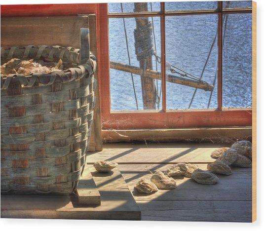 Oyster Basket Wood Print