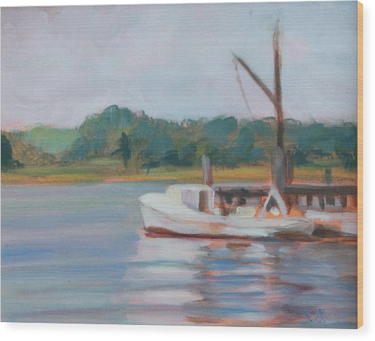 Oyster Boat On The Chesapeake Wood Print