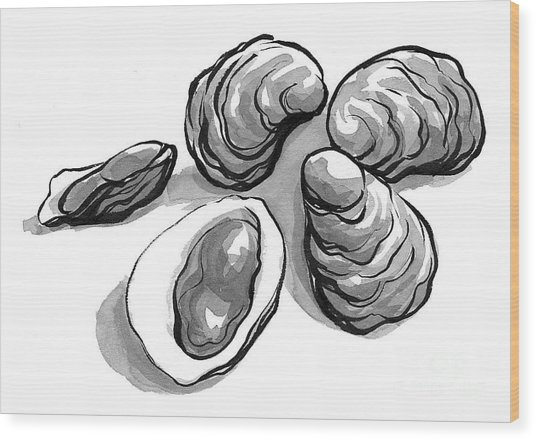 Oysters Wood Print by Laura Gilmore