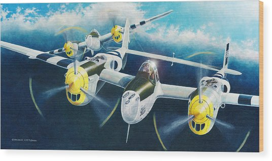 P-38 Lightnings Wood Print