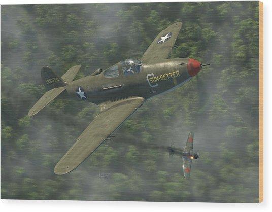 P-39 Airacobra Vs. Zero Wood Print