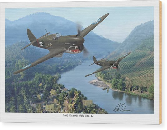 P-40 Warhawks Of The 23rd Fg Wood Print by Mark Karvon
