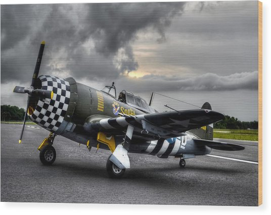 P-47 Sunset Wood Print