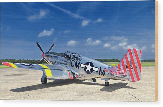 Wood Print featuring the photograph P-51 Mustang by Kristia Adams
