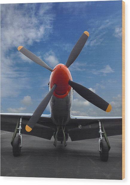 P-51 Ready For Flight Wood Print
