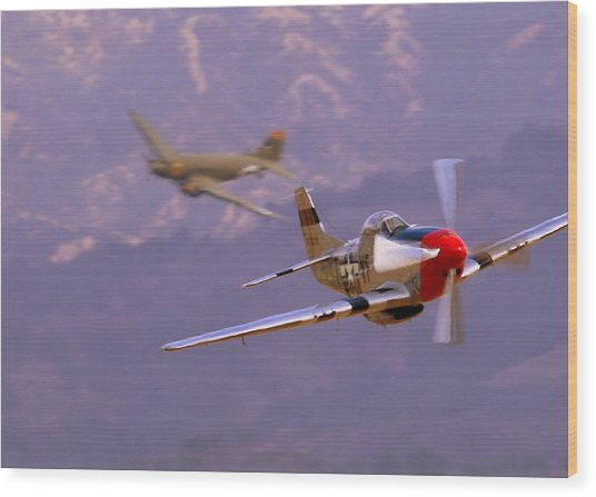 C47 Skytrain With Her P51 Mustang Escort Wood Print
