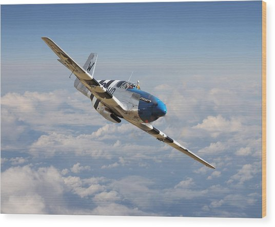 P51 Mustang - Symphony In Blue Wood Print