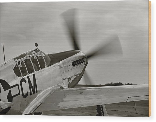 P51 Mustang Takeoff Ready Wood Print