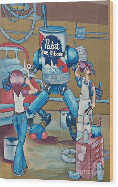 Pabst Mural In The Loop Wood Print