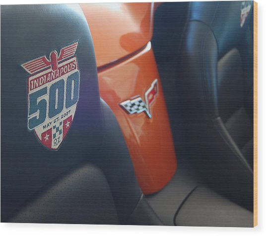 Pace Ride - Indianapolis 500 Corvette Wood Print by Steven Milner