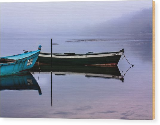 Pacheco Blue Boat Wood Print