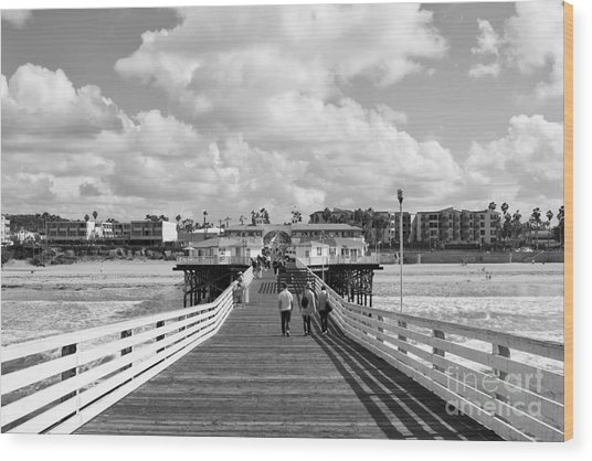 Pacific Beach From Crystal Pier Wood Print