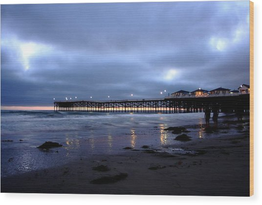 Pacific Beach Pier Wood Print by Carrie Warlaumont