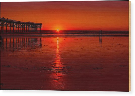 Pacific Beach Sunset Wood Print