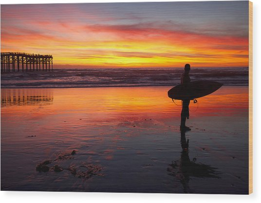 Pacific Beach Was On Fire Tonight Wood Print