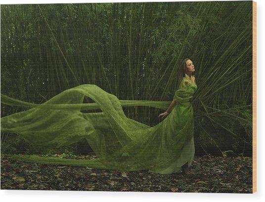 Pacific Islander Woman In Flowing Green Wood Print