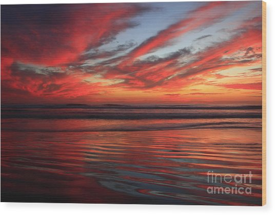 Oceanside Reflections Wood Print