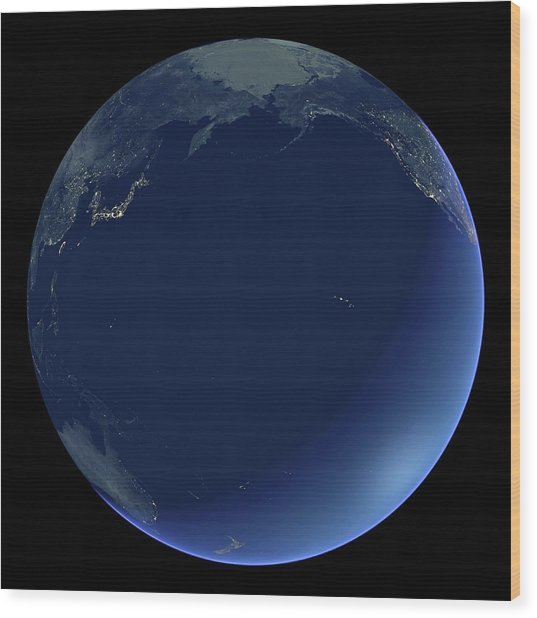 Pacific Ocean At Night Wood Print by Planetary Visions Ltd/science Photo Library