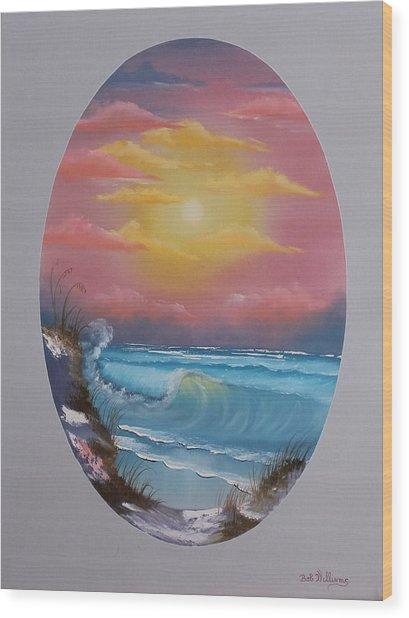 Pacific Ocean Sunset Wood Print