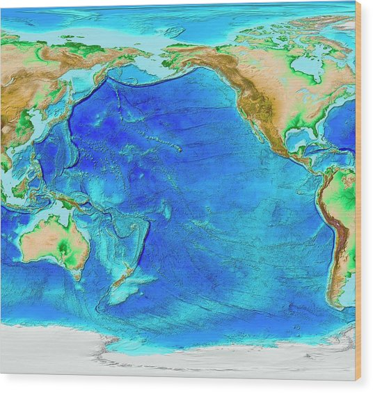 Pacific Ocean Topographic Map.Pacific Ocean Topography Photograph By Noaa Science Photo Library