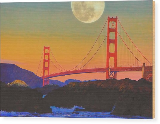 Pacific Sunset - Golden Gate Bridge And Moonrise Wood Print