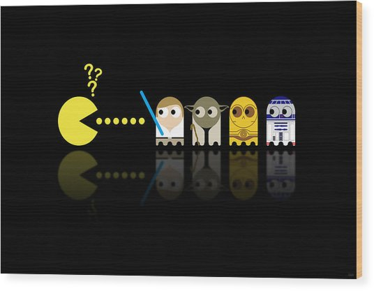 Pacman Star Wars - 3 Wood Print by NicoWriter