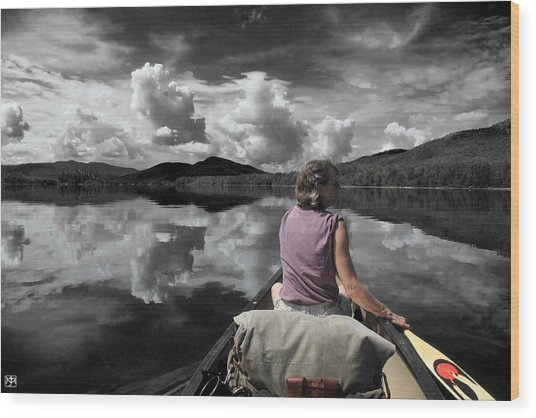 Paddling Attean Pond Wood Print