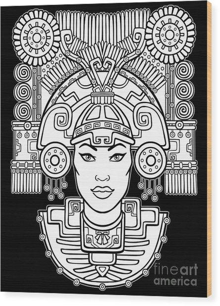 Pagan Goddess. Motives Of Art Native Wood Print