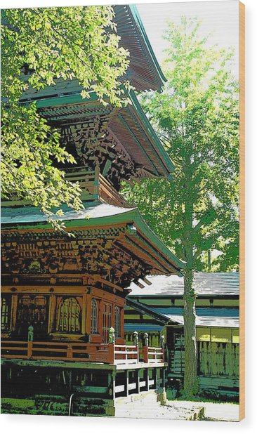 Pagoda Side View Wood Print