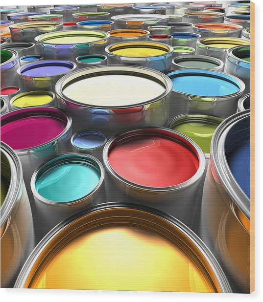 Paint Cans With Open Lids (digital) Wood Print by Ian McKinnell