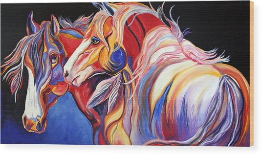 Paint Horse Colorful Spirits Wood Print