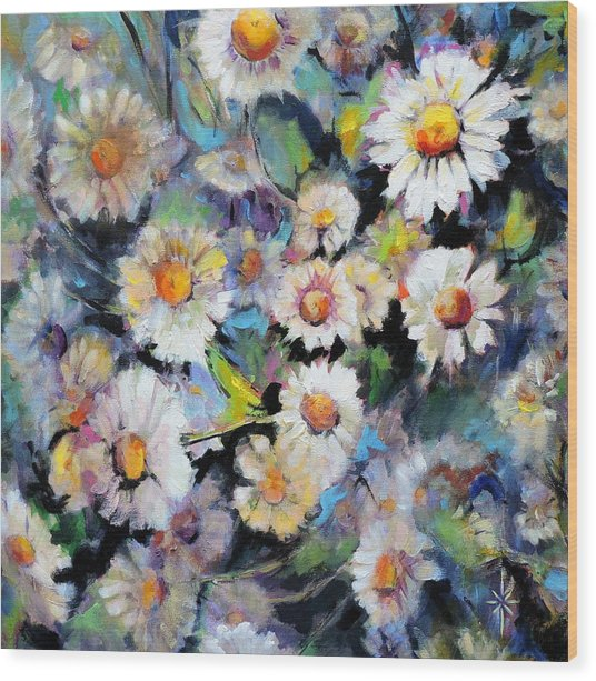 Painted Daisy Wood Print