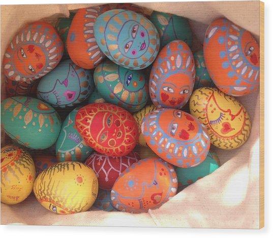 Painted Eggs Wood Print